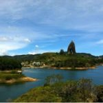 An incredible view of the 'Embalse de Guatape' and the 'Piedra del Peñol de Guatape', Colombia