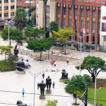 Beautiful view of the Plaza Botero in downtown Medellin