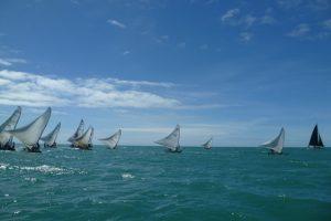 Raft sailing at the Prainha do Canto Verde near Fortaleza, Brazil