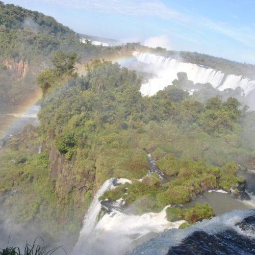 Walking over the Iguazu Falls