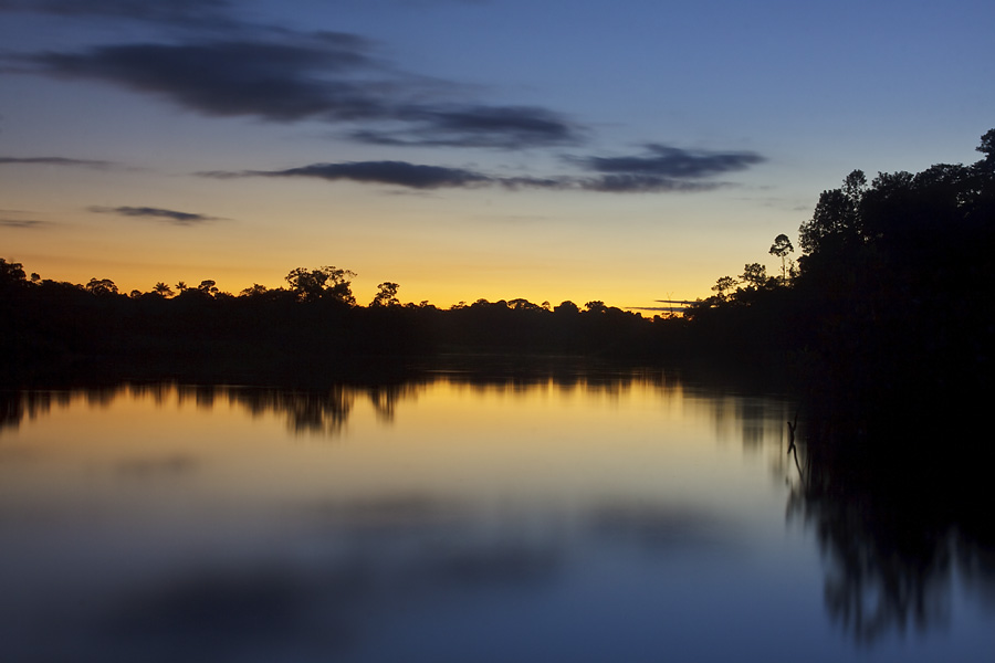 The sun sets ending another beautiful day in the Amazon.