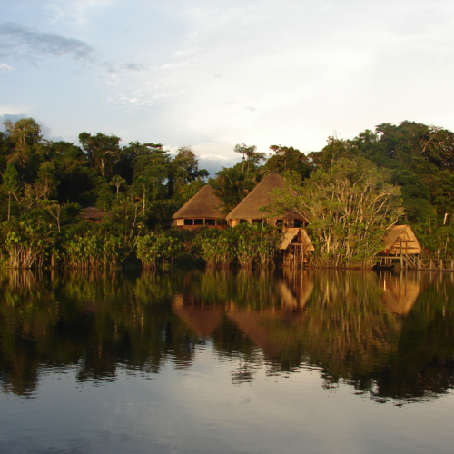 View of the Sani lodge in the Amazon rainforest, Ecuador tour
