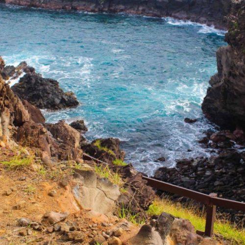 Panoramic view of the Ana Kai Tangata cave in Eastern Island, Chile