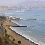 View over the beach and the Pacific Ocean from Miraflores in Lima, Peru