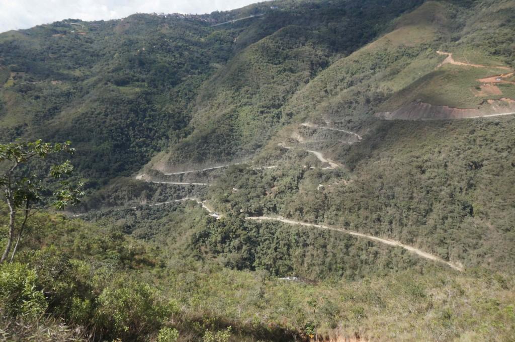 The scary Death Road near La Paz, Bolivia