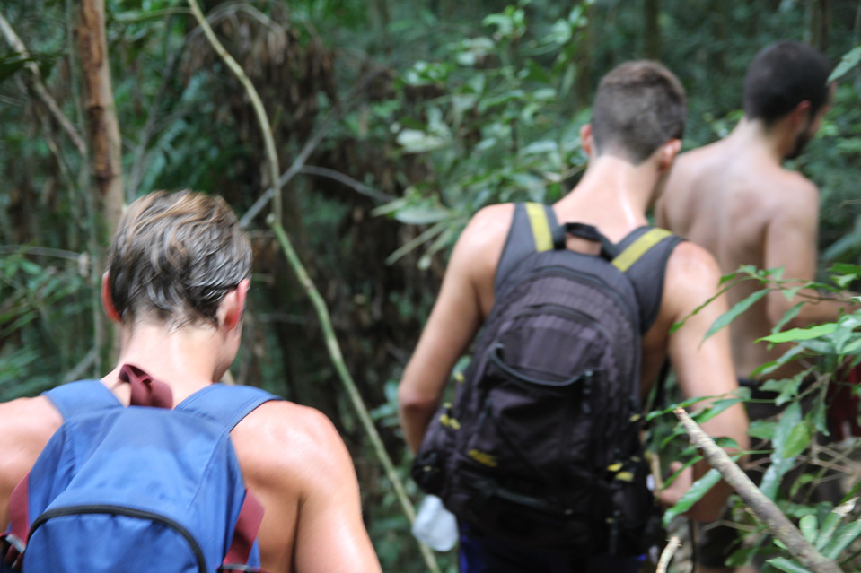 That's me, Danny, on the left, and Harry, in the centre, trekking in Rio de Janeiro last year.