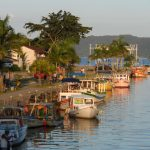 Boats bobbing during a tour of Paraty, Brazil