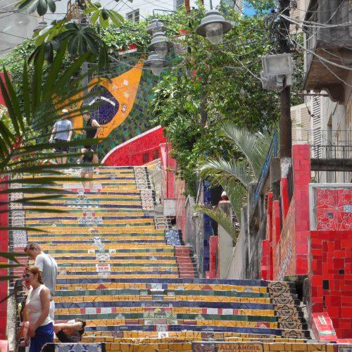 The artistic Escadaria Selaron in Lapa, Rio de Janeiro, Brazil