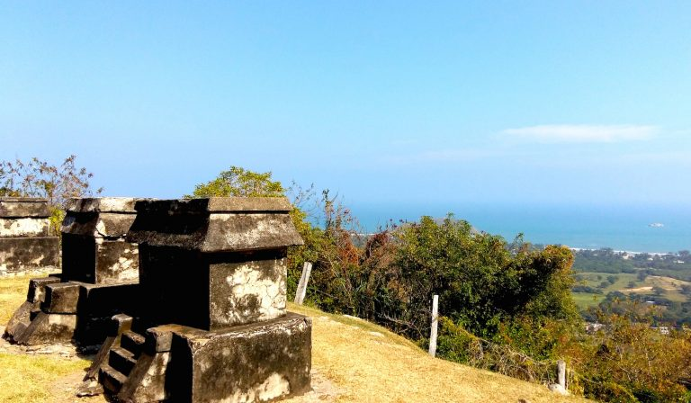 Views towards the sea from the Quahuiztlan Totonac Archaeological Ruins, Veracruz, Mexico