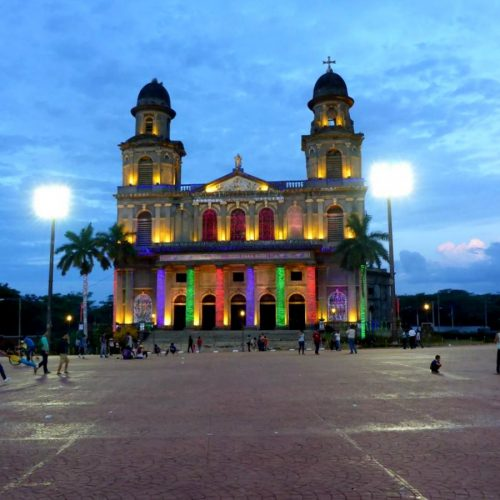 The Old Cathedral in Managua lit up with colourful lights, Nicaragua