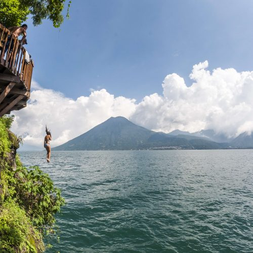 Jumping into the Atitlan Lake in Guatemala