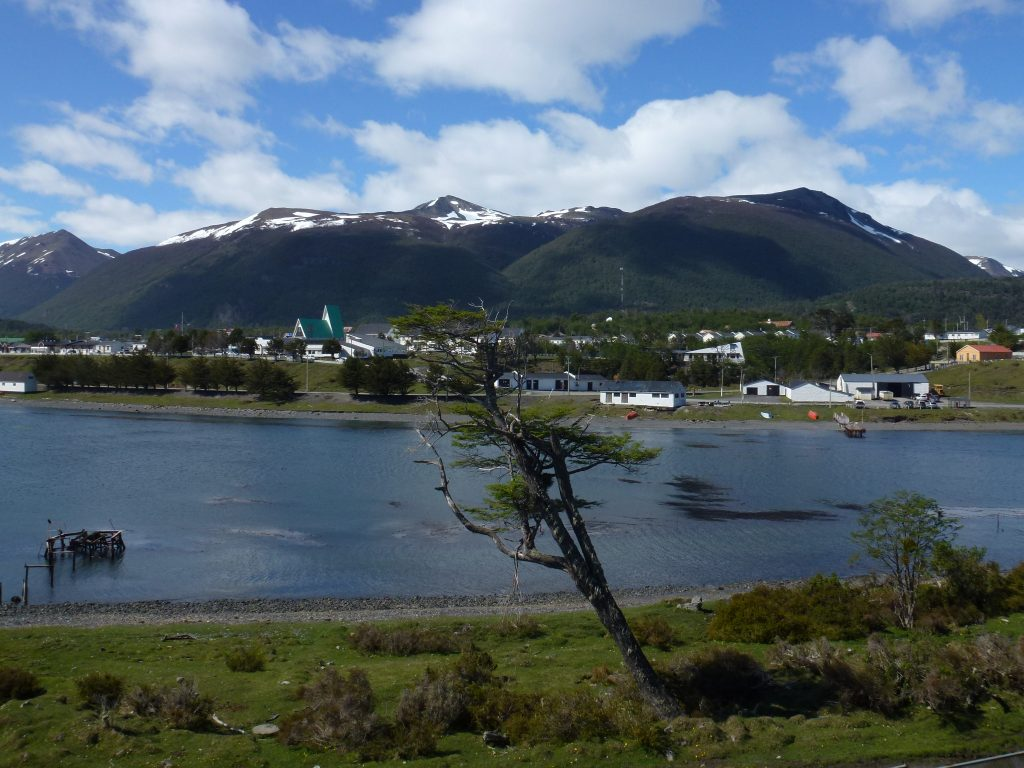 The town of Puerto Williams from the other side of the Beagle Channel