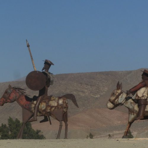 Statues of Don Quixote and Sancho Panza in The Oasis of Totoral, Chile