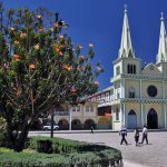 The beautiful and charming church on the main square of Chordeleg, Ecuador