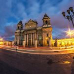 The beautiful Catedral Metropolitana of Antigua during the night, Guatemala