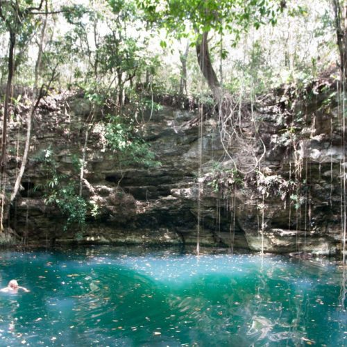 Dzula, a beautiful sinkhole near Chunhuhub in Mexico