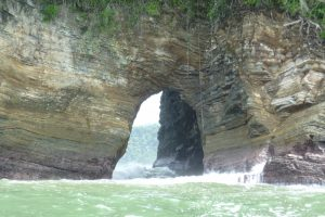 Caves during the boat trip in Marino Ballena National Park, Costa Rica