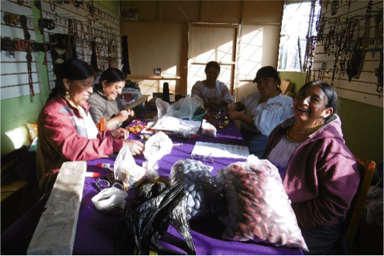 A cooperative of five women entrepreneurs, making jewellery from local seeds, sewing bags and creating scarves, in La Calera, Ecuador