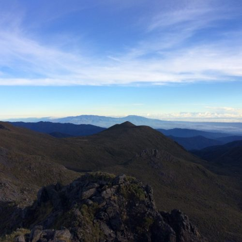 View from the peak of Mount Chirripo at sunrise, the highest mountain in Costa Rica