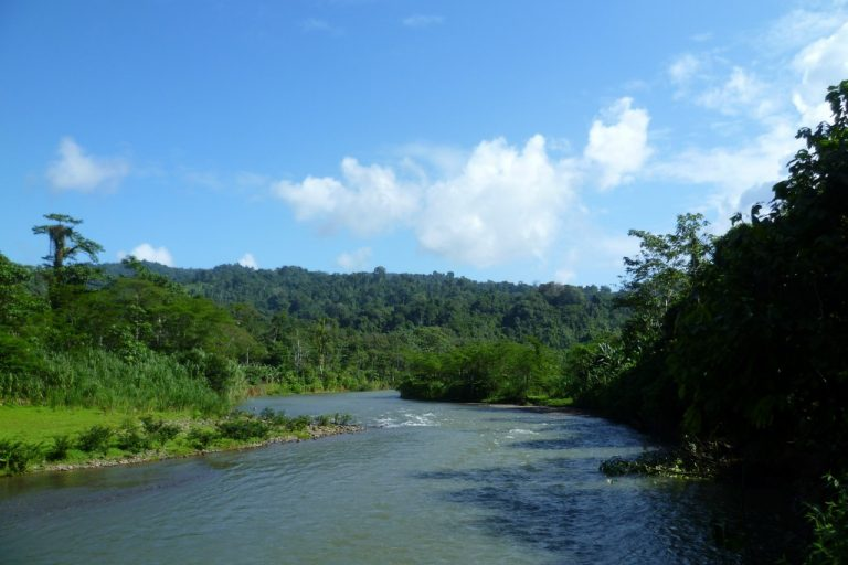 Costa Rica on the left, Panama on the right, near the Bribri community
