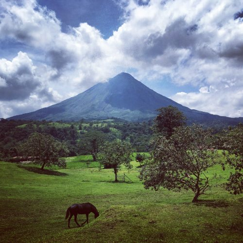Impressive view of the Arenal Volcano near La Fortuna in Costa Rica